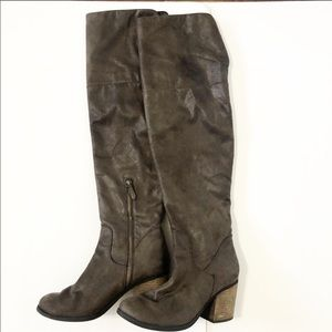 Hinge Faux Suede Leather over the knee boots